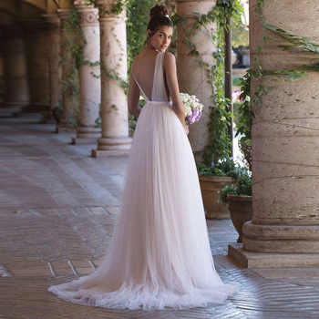 LORIE Boho Wedding Dress 2019 A Line Tulle Long Backless White Beach Wedding Dress Tulle V Neck Pleats Princess Bride Dress 2019