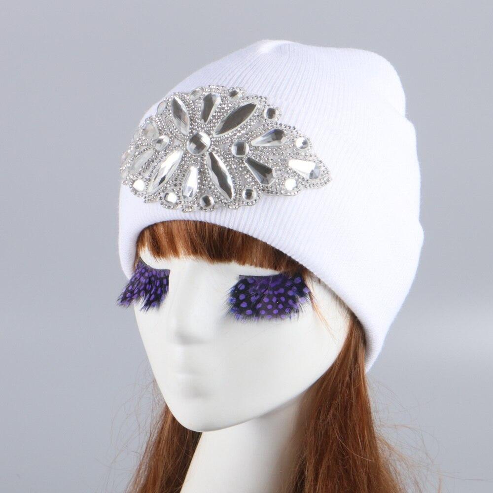 le crochet en chapeau l/'hiver chaud pac pom pom bonnet de laine fourrure