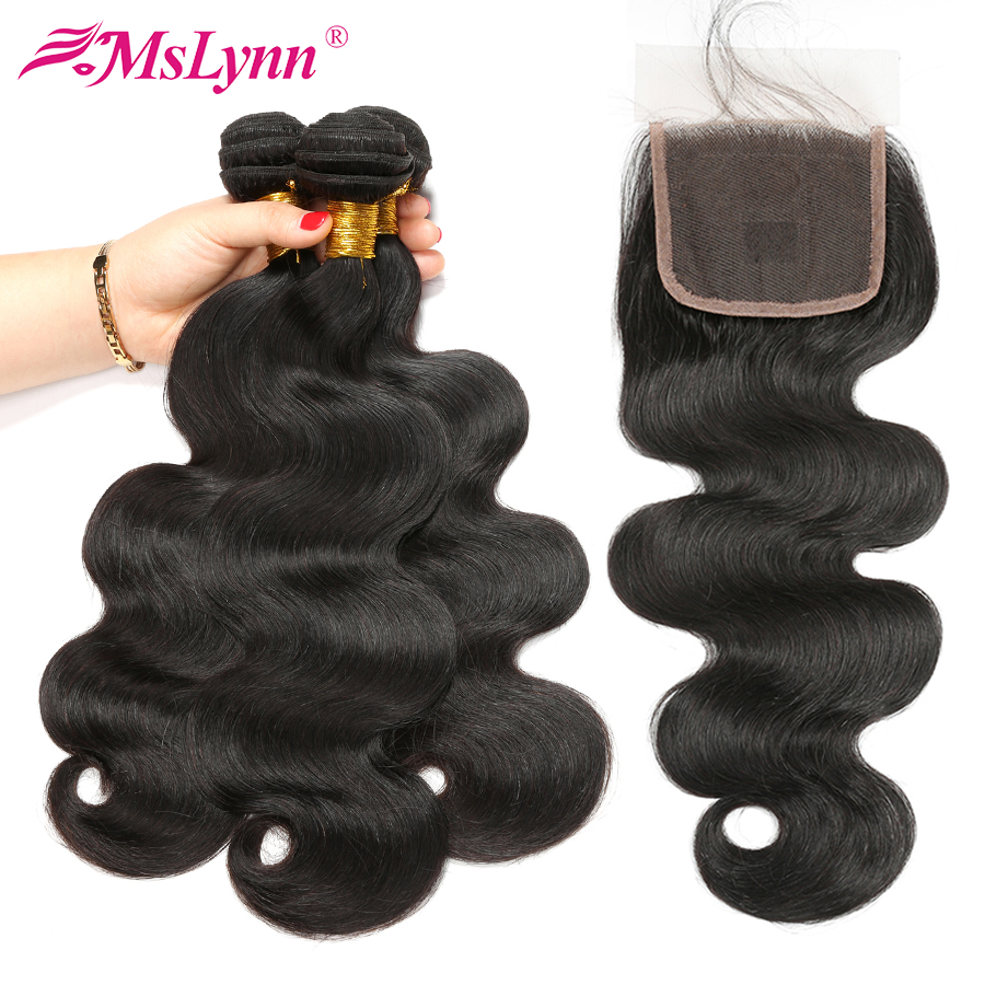 Mslynn Hair Body Wave Bundles With Closure Human Hair 3 Bundles With Closure 4*4 Indian Hair Natural Color Non Remy 4PCS/Lot