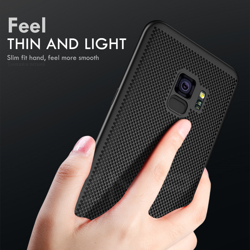 ZNP Ultra Slim Grid Heat Dissipate Phone Case For Samsung Galaxy S9 S8 Plus Note 9 8 Back Cover Case For Samsung S7 S6 Edge Case