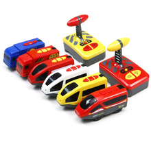Electric Toy Trains For Kids RC Electric Magnetic Train With Carriage Sound and Light Express Truck FIT Wooden Railway Children