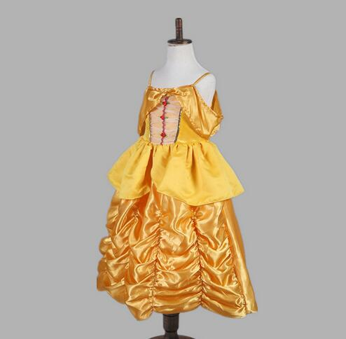 kid child Girl 110-160cm Princess belle Halloween Costumes birthday gift Beauty and the Beast Costume Suit Fancy Dress Cosplay