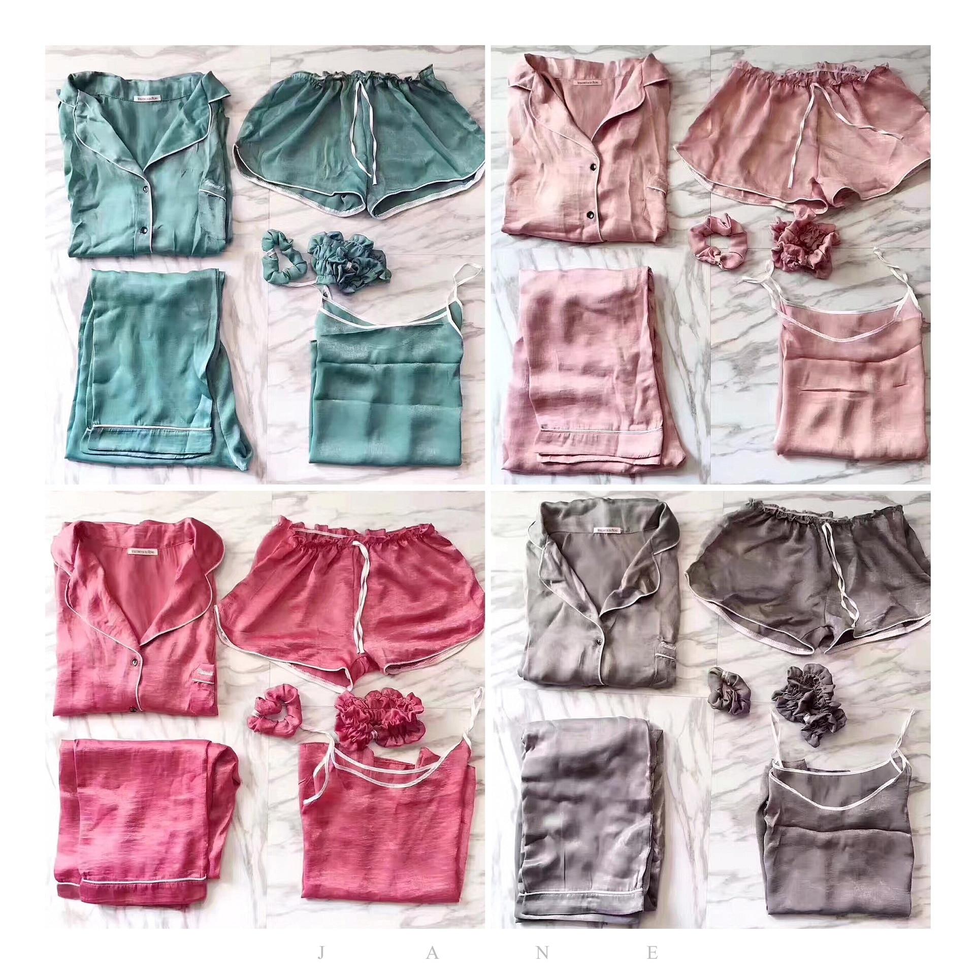 HaoMengFen filles pyjamas sept pièces soie femme été cardigan service à la maison deux pièces mignon pyjamas 7 pièces