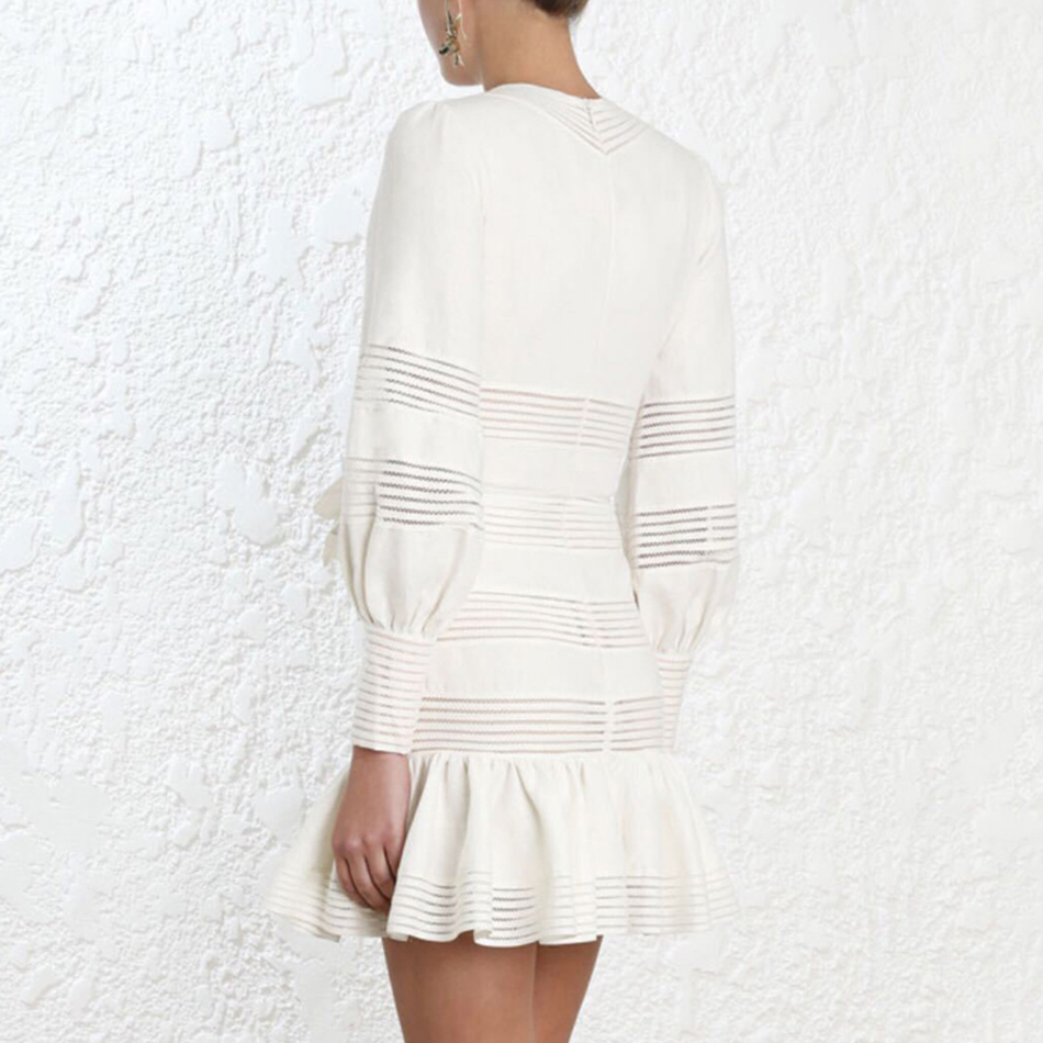 Femmes Short Col Robe Manches Mini Automne 2018 De Designer À V Blanc Nouveau Volants Partie Fishtail Longues Sexy Chic 8RxBAgpq