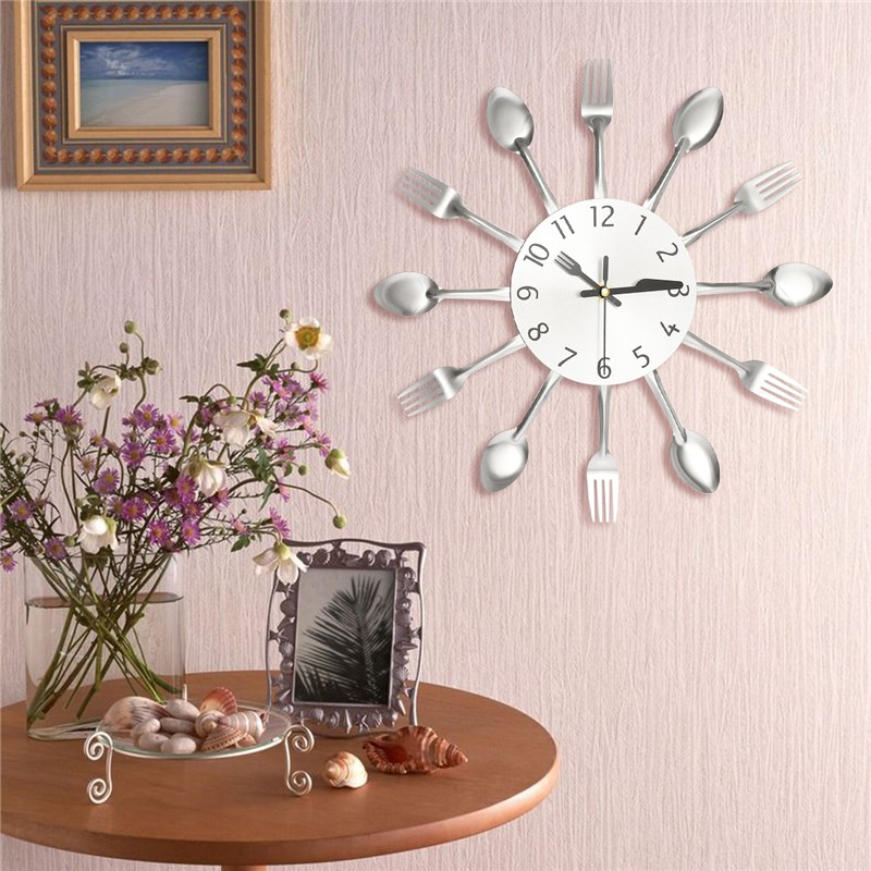 charminer modern kitchen wall clock sliver cutlery clocks spoon fork wall stickers mechanism design home decor