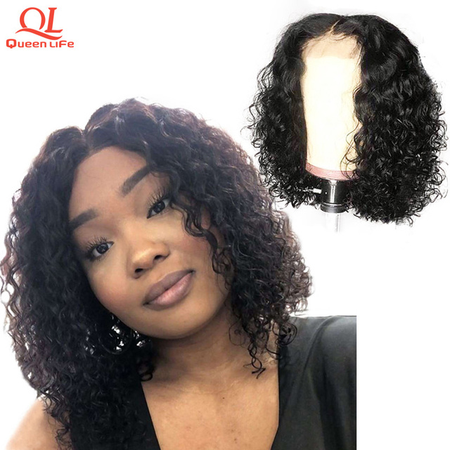 Peluca de pelo humano de encaje de onda profunda de Queenlfe Peluca de pelo brasileño Remy Bob pelucas con nudos blanqueados Pre desplumados para negro Mujer