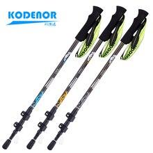Carbon Fiber Telescopic Cane 3 Lock Outside Fold Crutch Walking Sticks Trekking ultralight Pole цена