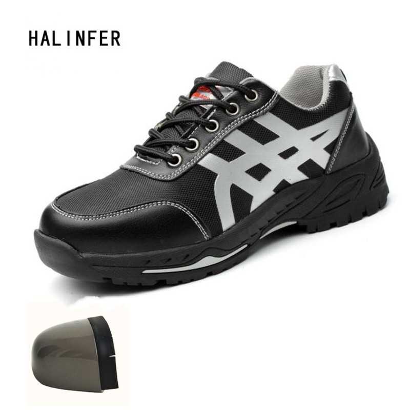HALINFER Men Steel Toe Safety Work Shoes genuine leather Stab-proof casual shoes fashion ...
