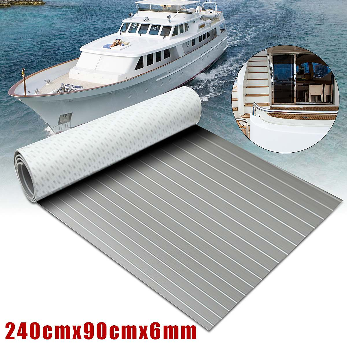 2400x900x6mm Self-Adhesive EVA Foam Sheet Grey With White Line Marine Flooring Faux Teak Boat Decking Pad