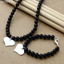 Black 8mm Pearl Necklace Bracelet 925 Silver Heart Charm Women Jewelry Natural Freshwater Pearls Set