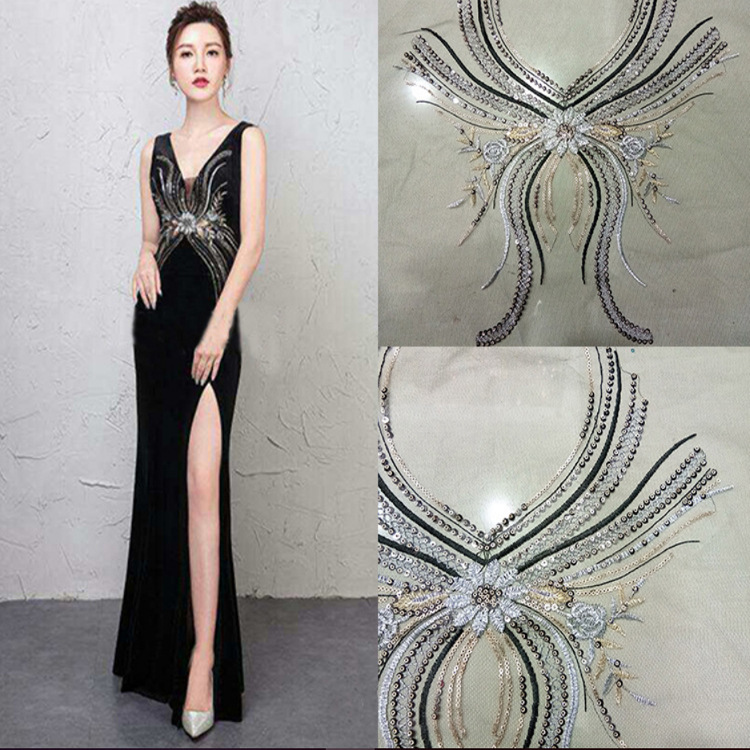 Sequined Embroidered Overcoat Collar Embroidered Cloth Pasted Dress Stage Costume Accessories
