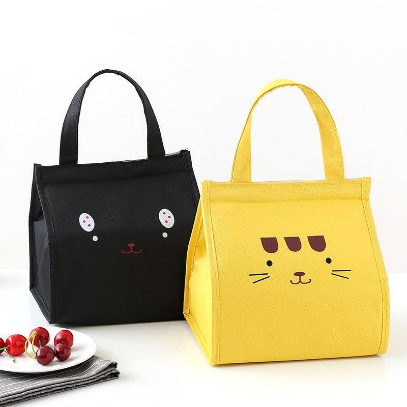 BONAMIE Hook&Loop Thermal Lunch Bag Women Portable Tote Insulated Cooler Bags For Boy Girl Kids Cartoon Beach Food Picnic Bags