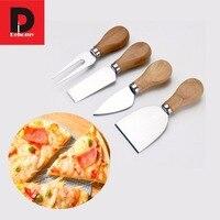 Dehomy 1 Conjunto 4 pcs Punho De Madeira De Carvalho Kit facas de Cozinha Cozinhar Ferramentas Pizza de Queijo Faca Faca de Manteiga Queijo Espalhador faca