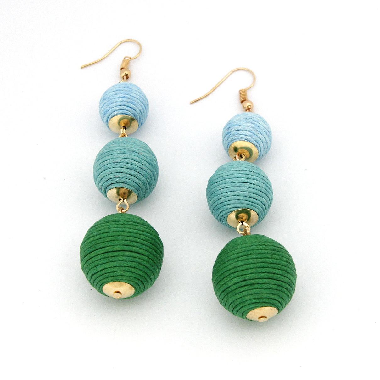 Legenstar Thread Ball baumeln Ohrringe für Frauen Pom Pom Drop - Modeschmuck - Foto 3
