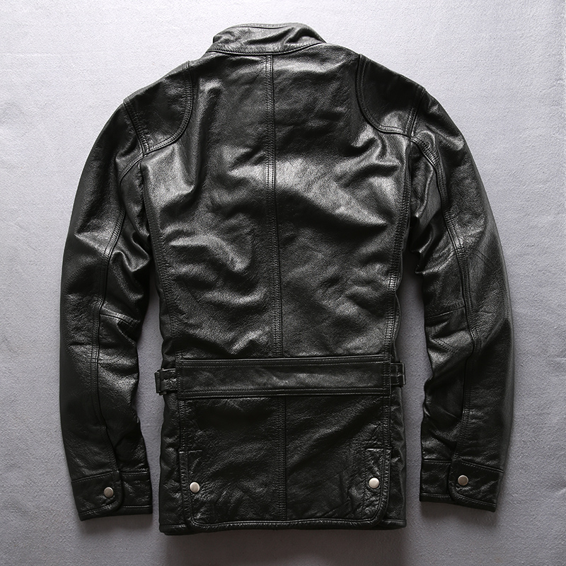 Army overcoat genuine leather clothing M65 outerwear cow leather jacket mens cowhide leather rider jacket