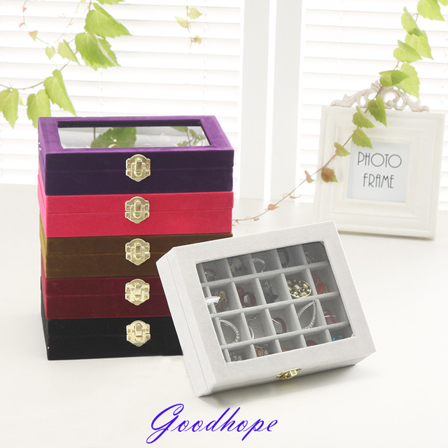 New Arrived Glass Top Ring Earring Jewelry Display box Decorative
