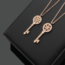 192120997 rose gold crystal sunflower key necklace.my destiny jewelry forever your