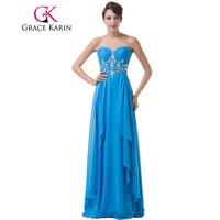 Grace Karin Bridesmaid Dresses Floor Length Long Chiffon Sky Blue Vestido Dama De Honra Sweetheart Beading