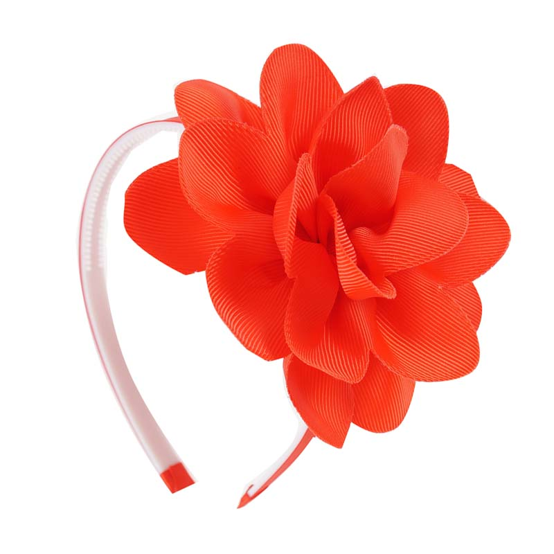 Handmade Girls Big Flower Hair Band Grosgrain Ribbon Headband With Plastic Hairbands For Children Kids Headdress Gift in Hair Accessories from Mother Kids