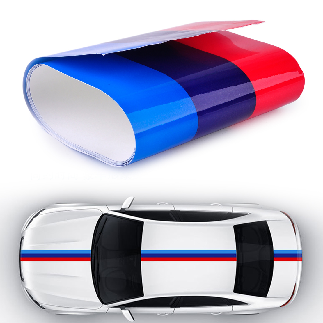 CITALL 2Mx15cm Car Auto Hood Roof Fender M-Colored Power Flag Stripe Sticker Decal for BMW 1 2 3 4 5 7 Series Q5 Q7 X1 X3 X5 X6 partol black car roof rack cross bars roof luggage carrier cargo boxes bike rack 45kg 100lbs for honda pilot 2013 2014 2015