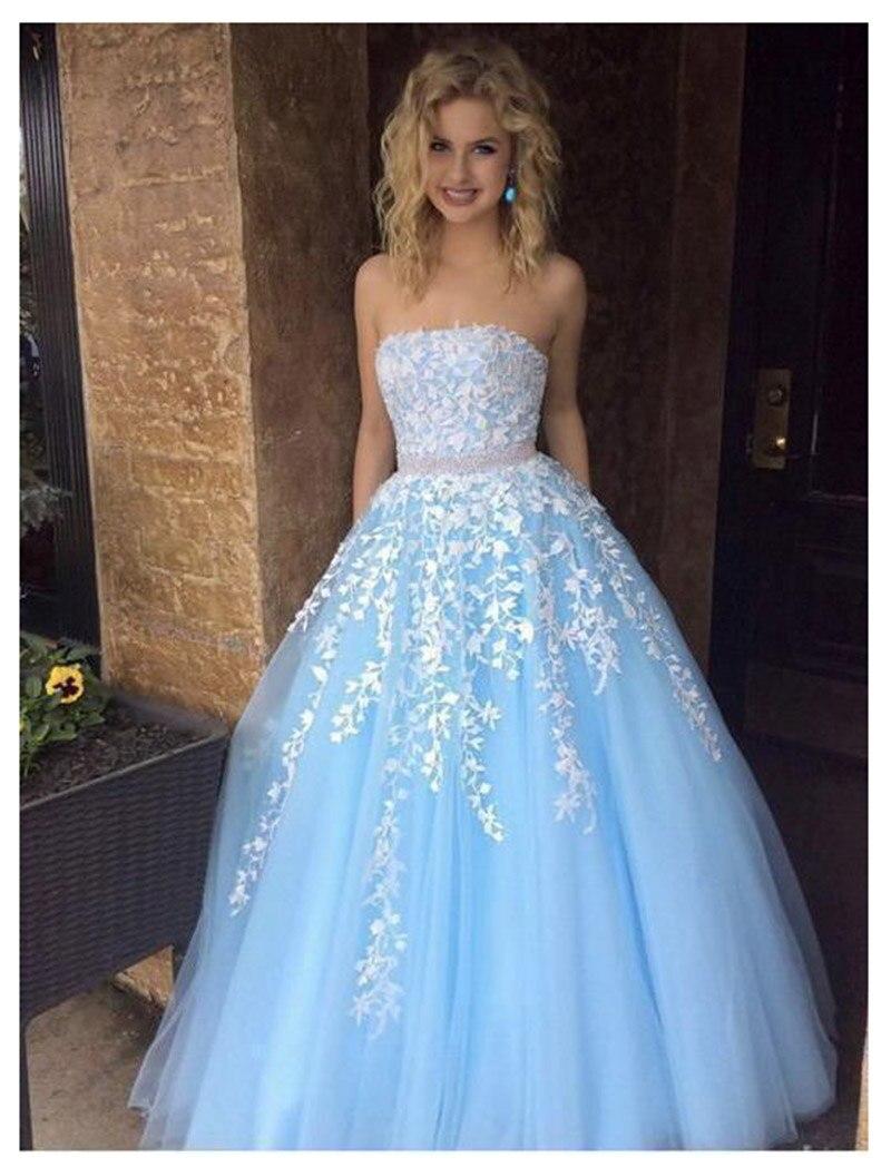 Quinceanera robes 2019 LORIE Vestidos De 15 Anos volants bleu ciel dentelle luxe Debutante robes filles doux 16 robes