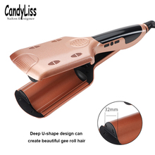 2019 LCD Display Deep Wave Hair Curling Irons Ceramic Triple Barrel Big Wave Curlers Big Corrugated Hair Curler
