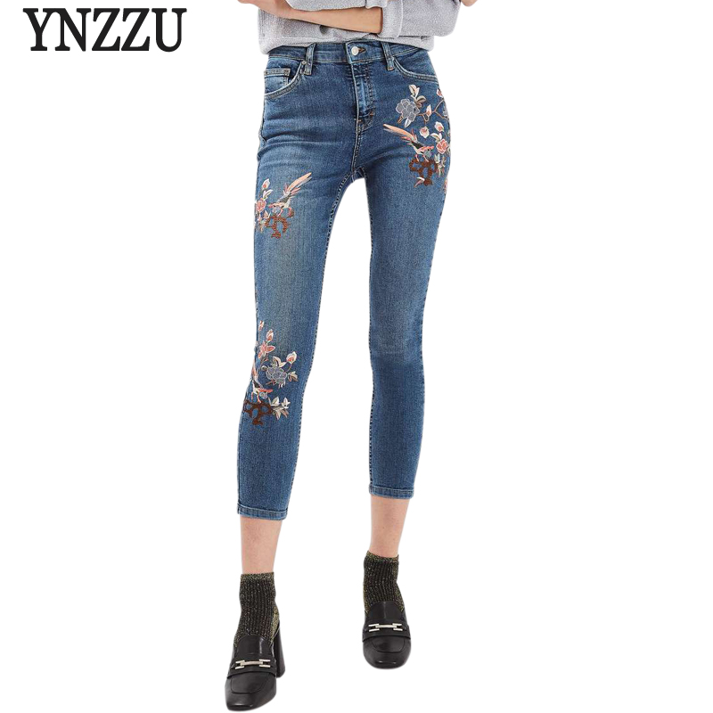 YNZZU 2017 New Spring  Women Jeans High Waist Bird Floral 3D embroidery High Waist Ladies Denim Pants Jeans Bottoms YB061 2017 spring new women sweet floral embroidery pastoralism denim jeans pockets ankle length pants ladies casual trouse top118