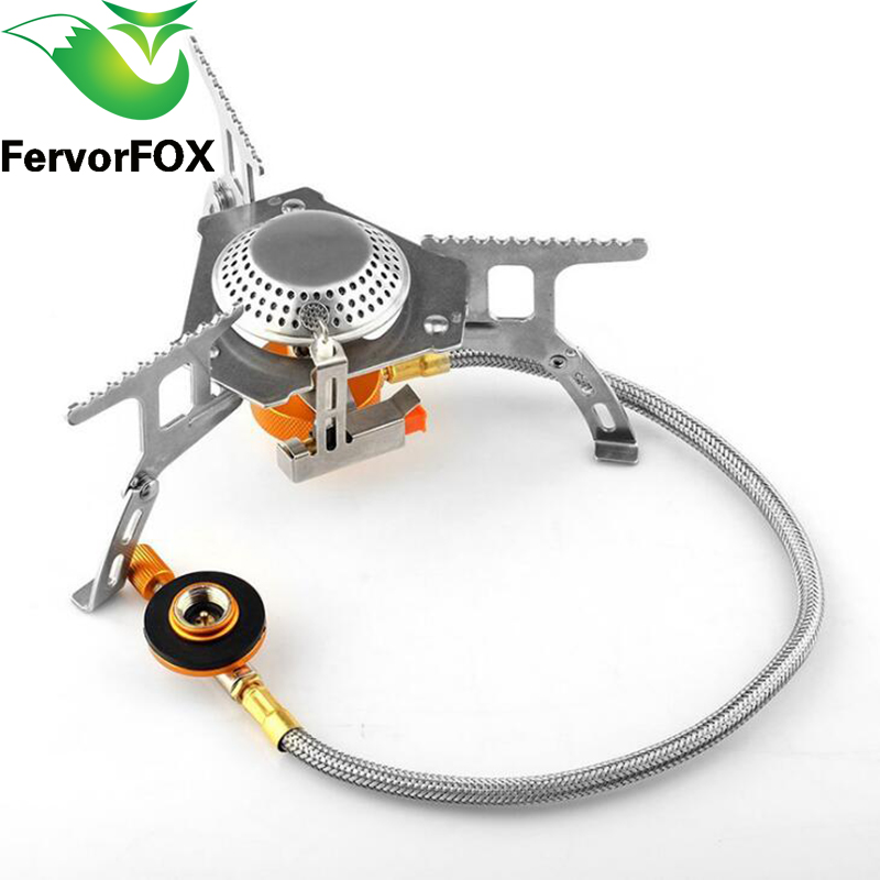 FervorFOX Folding Outdoor Gas Stove Camping Stoves Portable Gas Electronic Stove with Box Portable Foldable Split Stoves 3500W point break outdoor camping cookware portable picnic stoves gas stove oven split type cs g18