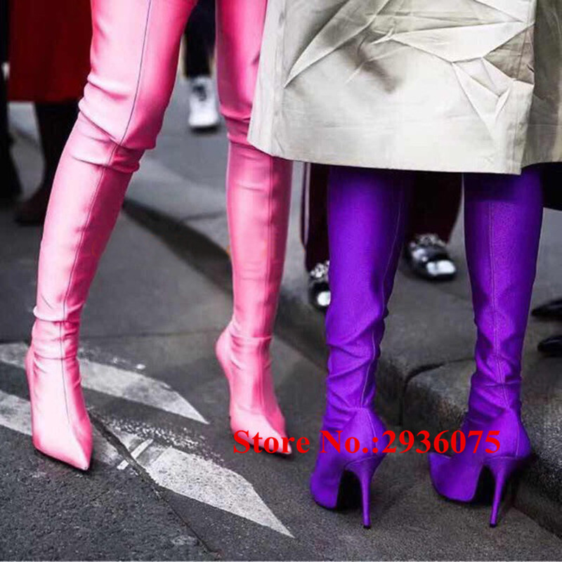 Hot Runway Sexy Women Boots Stretch Silk Pointed Toe Stiletto High Heels Over The Knee Boots Jersey Thigh High Boots Shoes Woman hot boots women sexy black thigh high boots peep toe soft leather back zip high heels over the knee boots gladiator sandal boots