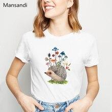 cute mushrooms Hedgehog animal printed t shirt women clothes 2019 vogue funny white tshirt