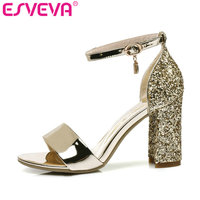 ESVEVA 2017 Bling Party Summer Shoes PU Women Sandals Square High Heel Sandals Rhinestone Peep Toe