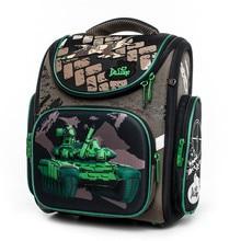 Delune 2019 Cartoon School Bags Tank Car Pattern Primary Backpack Folded Children Orthopedic Backpacks for Boys Mochila Infantil цена в Москве и Питере