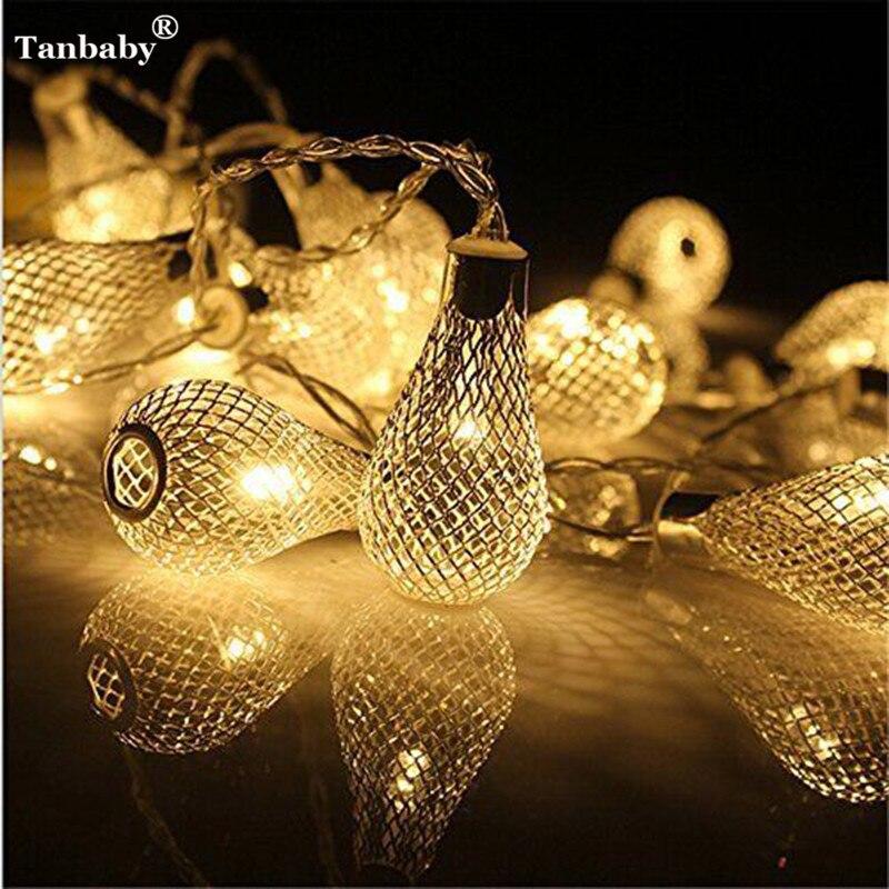 Tanbaby 4 m 20led gotas de lluvia diseño guirnalda ac110v 220 V ee.uu./UE plug Tiras de luces de LED luces hogar luces deco boda araña lámpara de pera