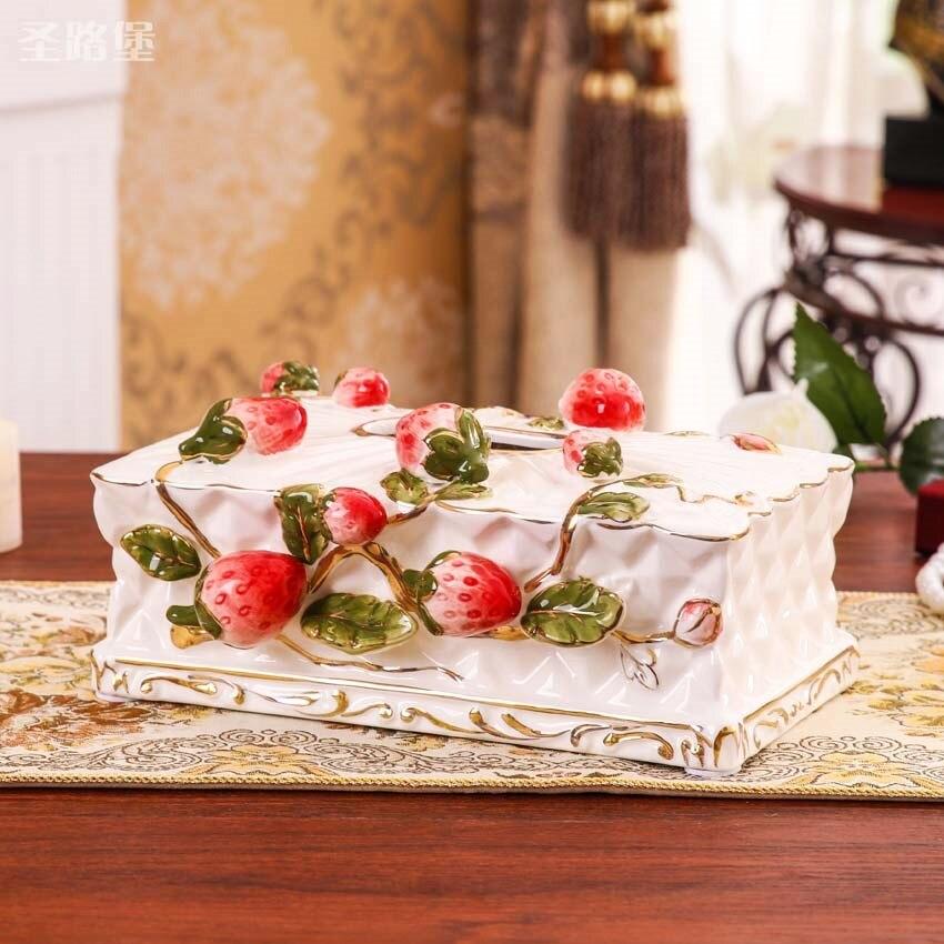 Europe créative en céramique fraise boîte à mouchoirs décor à la maison artisanat chambre décoration porte-papier boîte à mouchoirs boîte de mariage décoration