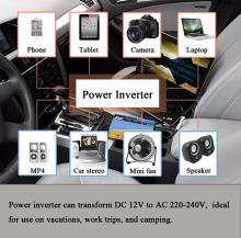 Automobile 12V DC to 220V AC Power Inverter Adapter with 4 Port USB Charger