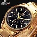 Natate homens fashion business marca chenxi relógio à prova d' água de luxo todo o ouro de ouro de aço inoxidável relógio de pulso de quartzo 1240
