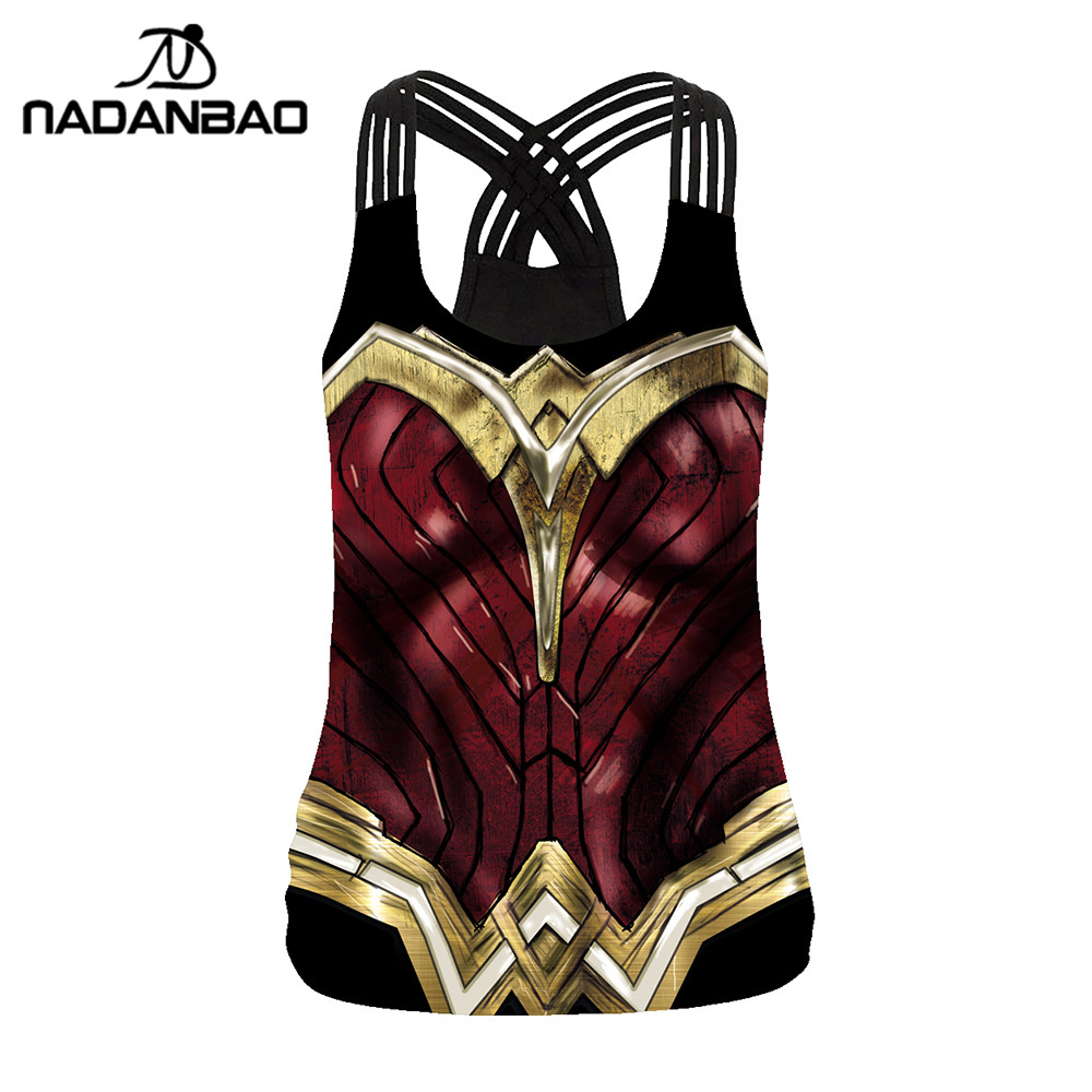 NADANBAO Backless Tops Clothing Vest Tank-Top Fitness Cosplay Wonder Woman Sleeveless