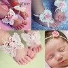 Flower Headband Baby Girls Barefoot Sandals