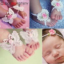 BalleenShiny 3Pcs / sæt Flower Headband Baby Girl Barefoot Sandals Hair Foot Tilbehør Elastiske Fashion Foot Decoration Børn Gave