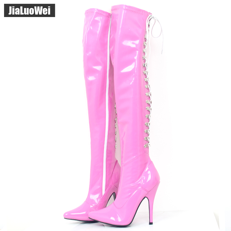 Jialuowei Extreme High Heels 12cm Stretch D-Ring Lace Up Fetish Lår Höga Långa Stövlar Pointed Toe Unisex Dance Party Stövlar