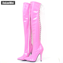 Women Fashion Boots Over-The-Knee High-Heeled Shoes Back Strap Patent Leather Pointed Toe Heels Thigh High Dance party Boots недорго, оригинальная цена