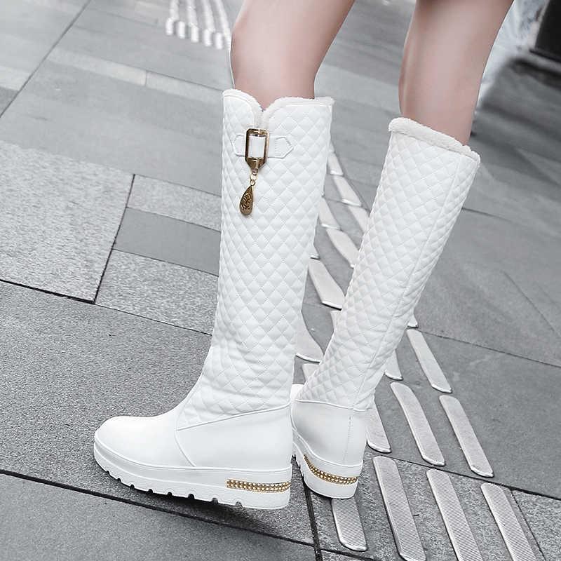 2020 nuevas botas para mujer botas altas hasta la rodilla tacones cuadrados moda punta redonda suela de goma mujer zapatos de cuero invierno negro
