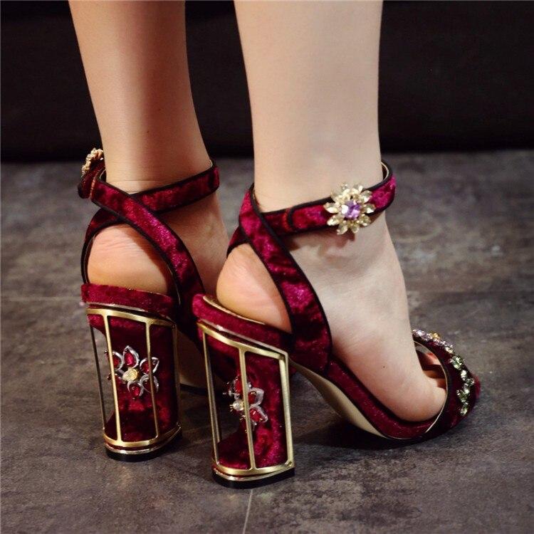 Étrange Femmes À D'été Talons Découpes Pompes Sandalias Femme Cristal Mujer Sandales Sandalia Chaussures Oiseaux Feminina Impression Cage Style D9YI2EWH