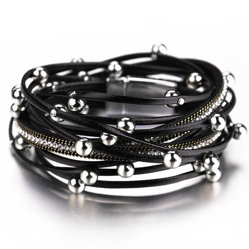 ALLYES Multilayer Leather Bracelets for Women Femme Crystal Metal Beads Charm Bohemian Wrap Bracelet Female Jewelry