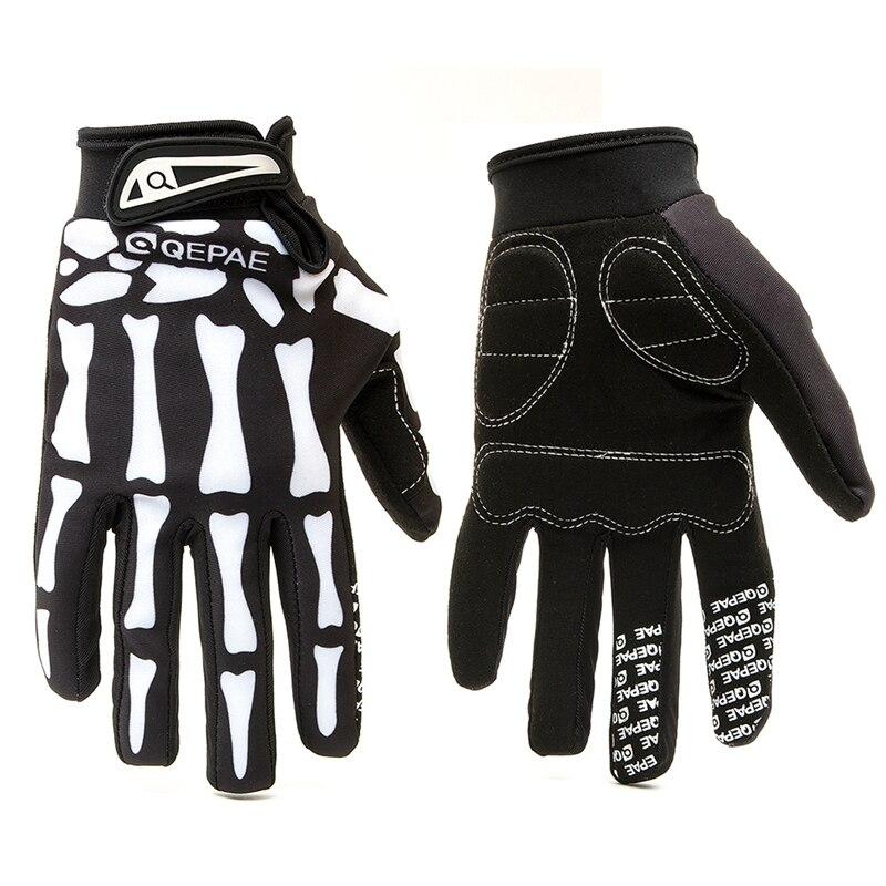 Qepae al aire libre Guantes de la motocicleta de dedo completa Guantes de carreras de Moto/Esquí/escalada/ciclismo/equitación deporte viento Motocross guantes