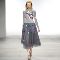 Luxury Designing Russian Style Women Stand Collar Knitting Patchwork Flowers Embroidery Mesh High Street Long Dress