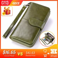 GZCZ Genuine Leather Female Zipper Wallet Women Luxury Brand Coin Purse Long Woman Walet Clutch ID Card Holder Clamp For Money