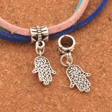 100PCS Antique Silver Hamsa Hand Fatima Religious Charm Beads Fit European Bracelets B376 27.1x10.2mm