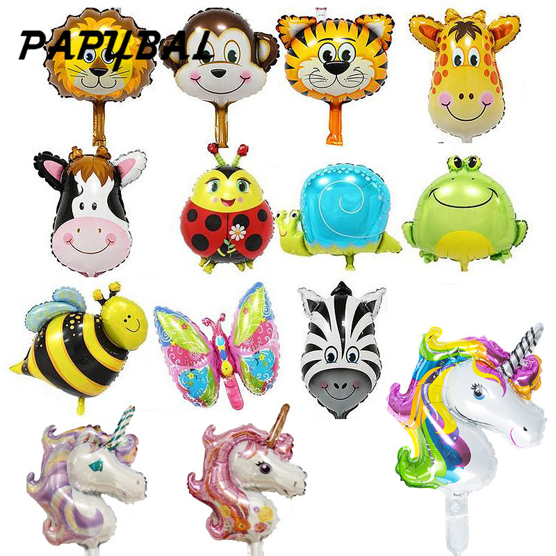 50pcs Safari animal balloons birthday party decoration Unicorn& monkey & zebra & cow head Safari zoo foil balloons Classic toys