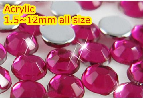 Fuchsia 1.5~12mm Flat Back Round Acrylic rhinestone,Acrylic Resin 3D Nail Art / Garment Rhinestone